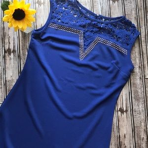 NWT White Mark royal blue dress with lace